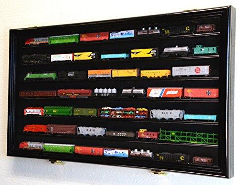 (N Scale Train Model Trains Display Case Cabinet Wall Rack w/ 98% UV Lockable -Black)