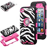 ULAK Zebra Design Combo Rose Pink Hard PC and Soft Silicon Case Cover Skin Gel for Apple iPod Touch Generation 4 with Screen Protector and Stylus