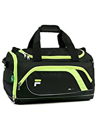 Fila Advantage Small Travel Gym Sport Duffel Bag, Black/Lime
