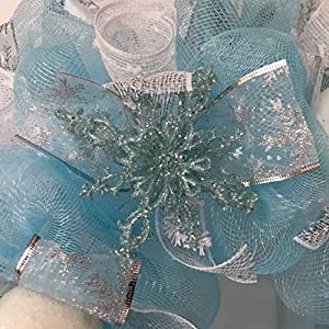 Frozen Winter Deco Mesh Wreath With Snowballs 3
