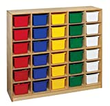 Childcraft 075042 Mobile Cubby with 30-Tray Capacity, 47-3/4'' x 13'' x 42'', Natural Wood Tone