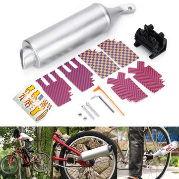 Body Frame Exhaust Systems Muffler Parts - Bicycle Exhaust Muffler System Motorcycle Megaphone Pipe Sounds Noise BMX Bike Engine - 1 X Bicycle Turbo Spoke Pipe 1 X Install ()