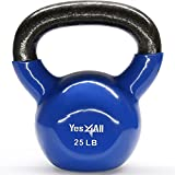 Yes4All Vinyl Coated Kettlebell Weights Set – Great for Full Body Workout and Strength Training – Vinyl Kettlebell 25 lbs