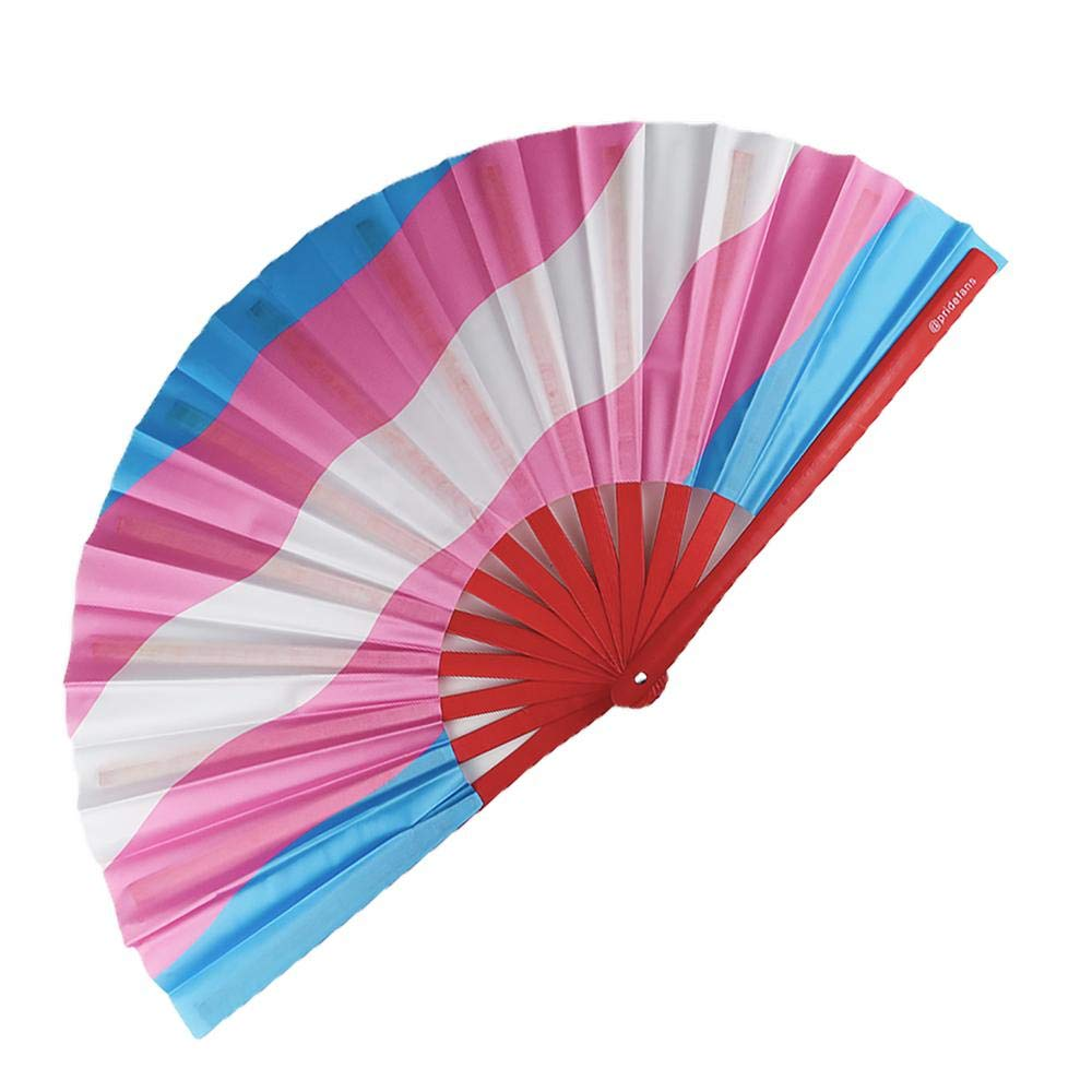 Pride Fans Transgender Bright Vibrant Colors Large Bamboo Durable Fabric Loud Pops LGBTQ Trans Hand Fan Festival Fan Rave Gift Love is Love Fan