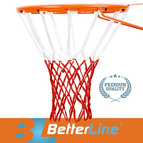 Better Line Premium Quality Professional Basketball Net All Weather Heavy Duty Thick Net  12 Loops    Red   White Net