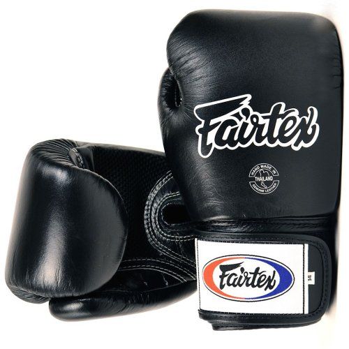 FAIRTEX MUAY THAI STYLE TRAINING GLOVES - BGV1 - BLACK (18oz, both hands) by MMABLAST