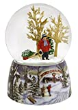 "Merry Christmas Snowy Woodland Scene Music Snow Globe Glitterdome - 5.5"" Tall 100MM - Plays Tune Over the River and Through the Woods"
