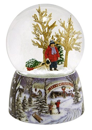 Roman Merry Xmas Snowy Woodland Scene Music Snow Globe Glitterdome Plays O Xmas Tree ()