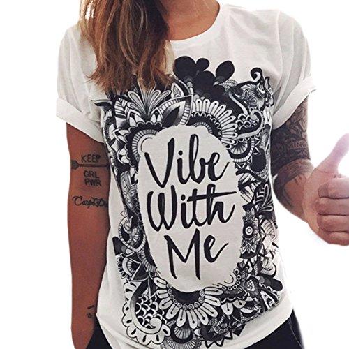 Manches Shirt Blanc Femmes Imprim Courtes Tops Impression Blouse Tunique T Femme Ete Shirt Casual Noir JLTPH T qa8tAww