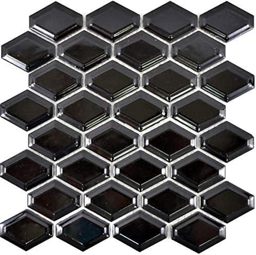 Mosaik Fliese Keramik Diamant Metro schwarz gl/änzend Fliesenspiegel K/üche MOS13MD-0301