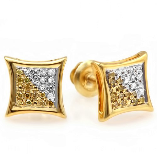 0.10 Carat (ctw) White & Yellow Round Diamond Micro Pave Setting Kite Shape Stud Earrings 1/10 CT