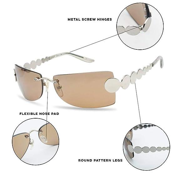 29dd4e9c17 Retro Rimless Rectangular Squared Light Tinted Sunglasses 70 s Vintage  Disco Novelty Sun Glasses (Black Frame