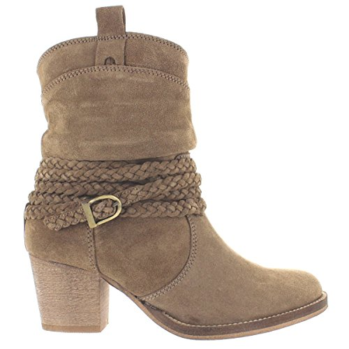Dingo Twisted Sister - Stone Suede Braided Buckle Strap Short Cowboy Boot - Size: 9