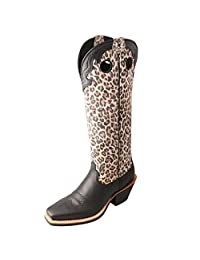 "Twisted X Women's 16"" Leopard Print Buckaroo Cowgirl Boot Square Toe Black 5.5 M US"