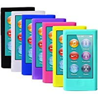 ColorYourLife 7pcs Soft Silicone Gel Skins Cases Covers for New iPod Nano 7th Generation with Screen Protector in Retail Packaging