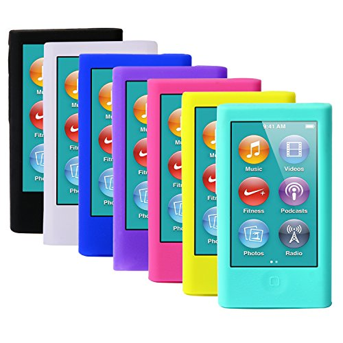 ColorYourLife 7pcs Soft Silicone Gel Skins Cases Covers for New iPod Nano 7th Generation with Screen Protector in Retail Packaging ()