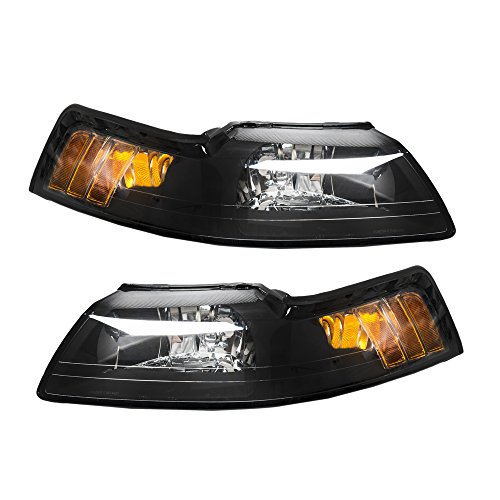 Pair Front Headlight Assembly for Ford Mustang 1999 2000 2001 2002 2003 2004 Left Right Side Replacement Headlamps Driving Light Black Housing Clear Lens
