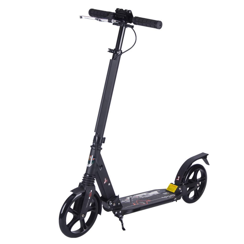 CMXIA Scooter   Scooter per Bambini di Altezza Regolabile in Altezza Nera   Scooter per Bambini Pieghevole   Freno a Pedale in Alluminio a Due Ruote + Freno a Mano