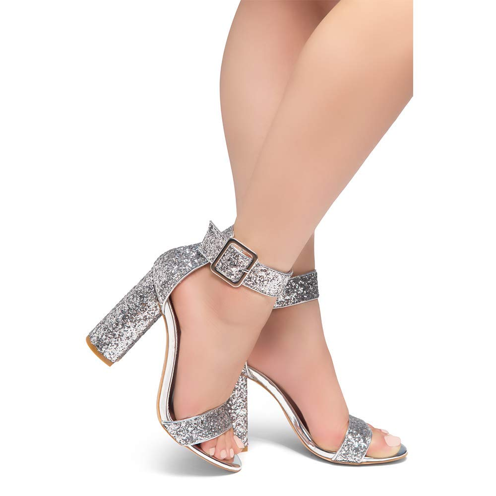 Herstyle Rumors Womens Fashion Chunky Heel Sandal Open Toe Wedding Pumps with Buckle Ankle Strap Evening Party Shoes