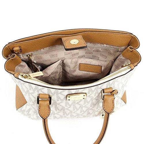 Michael Kors Kellen Medium Satchel Crossbody Bag Vanilla Acorn Brown by Michael Kors