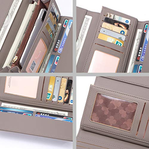 AISIKA Womens Wallet RFID Blocking Vegan Leather Trifold Multi Card Long Wallets (Gray) by AISIKA (Image #4)