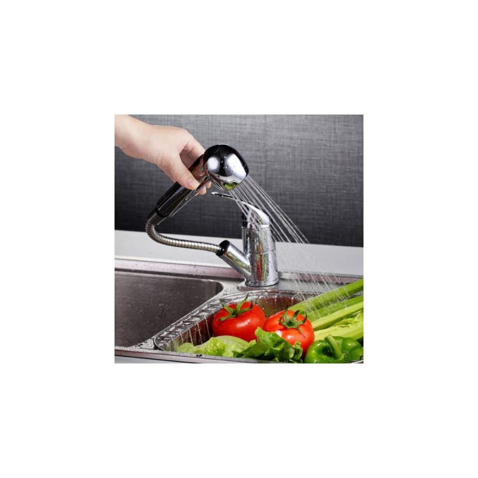 Fast Shipping + Free tracking number , Exquisite & High Quality Flexible Spout Faucet , Pull Out Kitchen Sink Basin Faucets Copper Single Handle Mixer Taps Hose Length 18.11 inch / 46cm