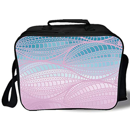 Insulated Lunch Bag,Abstract,Wavy Curvy Stripes with Dots and Lines Funky Ethnic Spring Storm Decorative,Baby Pink Blue Light Blue,for Work/School/Picnic, Grey ()