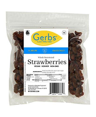 Dried Sweetened Strawberries 2 LBS Preservative Free amp Unsulfured by Gerbs  Top 12 Food Allergy Free amp NON GMO – Premium Product of USA