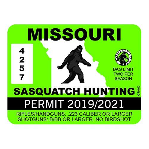 Missouri Photo Workshop - RDW Missouri Sasquatch Hunting Permit - Color Sticker - Decal - Die Cut - Size: 13.33