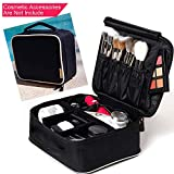 ROWNYEON Travel Makeup Bag Organizer Makeup Train Case Makeup Artist Bag Cosmetic Bag Portable Storage Bag Gift for Women 9.8'' Mini Black with White Edge