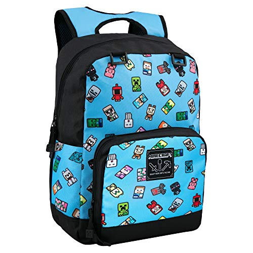 JINX Minecraft Bobble Mobs Kids School Backpack, Blue, 17