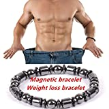 MSmask Magnetic Therapy Bracelet Weight Loss Unisex Round Black Stone Slimmy Health Care