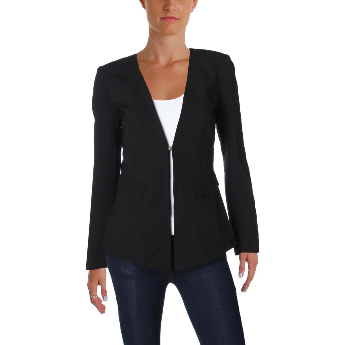 Ramy Brook Womens Crepe Pleated Vent Collarless Blazer Black 4