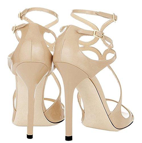 Emiki Women's Shoes open toe ankle strap Sandals Cover heel Stilettos Thin Heels Pumps Court Shoes Evening shoes Biege yAkn1RsN