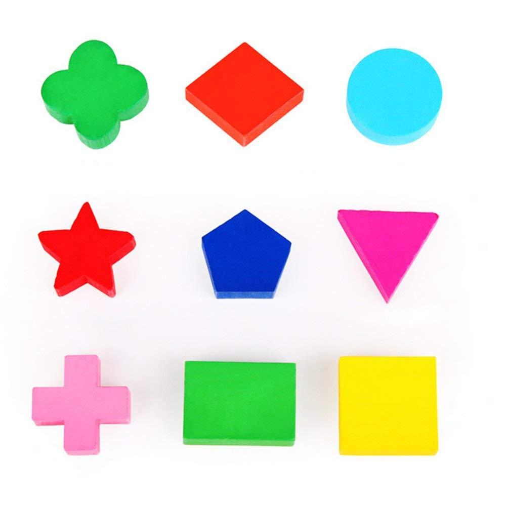 BFHCVDF Giocattolo educativo dei Bambini in Giovane et/à di riconoscimento di Colore di Forma di Blocchi di Geometria di Legno Multicolore