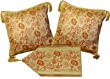 Aubusson Style 2 Cushion/pillow Cover 18''x18'' Cornered with 4 Tassels+ Table Runner 60''x12'' Embroidered with Intricate Golden Threads 03G Set of 3