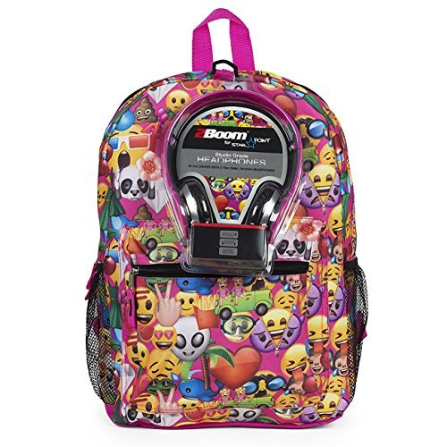 Emoji 17 Inch Smiley Faces Backpack with Headphones