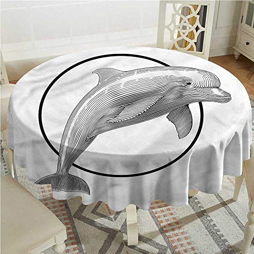 Tim1Beve Nautical Washable Round Tablecloth Jumping Dolphin and Ring Table Cover for Dining D70 INCH ()
