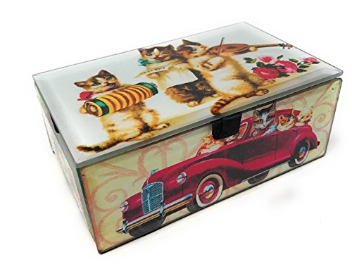 Value Arts Vintage Cats and Kittens Keepsake Box, Beveled Glass, Velvet Lined, 5.25 Inches Wide