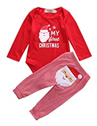 Douhoow Baby Girl Boy Pajamas 2PC Christmas Bear and Snowflake Tracksuit Red