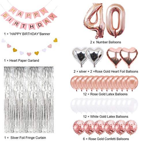 Decoraciones de Cumpleaños Número 40 Banner Globo Decoraciones de Cumpleaños Número 40 Artículos de Fiesta Regalos Para Mujeres Globos Número 40 de ...