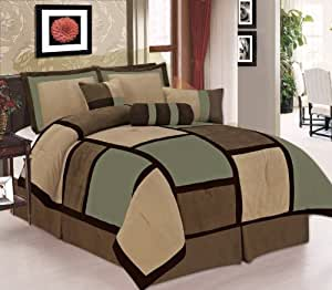 7 Piece Sage, Brown & Beige Micro Suede Patchwork Comforter Set Machine Washable King Size, Bed-in-a Bag