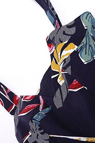 Robe Swing pour Femme Fleurs Vintage Soire Imprime MisShow Plisse Fleur Bretelle Cocktail dBqfRnC