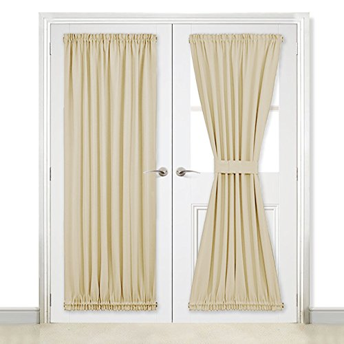 "NICETOWN Room Darkening Door Curtain Panels - Window Treatment Room Darkening Siliding Glass Door Curtains (Two Panels, 54"" Wide x 72"" Long, Cream Beige)"