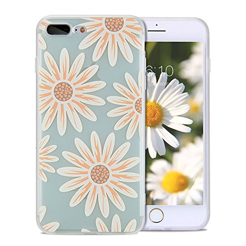iPhone 8 Plus Cute Case, iPhone 7 Plus Case Cute, FGA Green Daisy Floral Flower Pattern Design Slim Fit Scratch-proof Soft TPU Matte Translucent Case for iPhone 8 Plus (2017), (Silver Embossed Daisy)