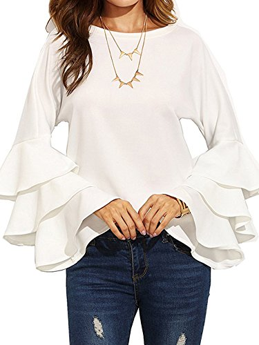 SIMSHION Women's Elegant Trumpet Sleeve Casual Blouse Long Sleeve Tops Shirts White 2XL ()