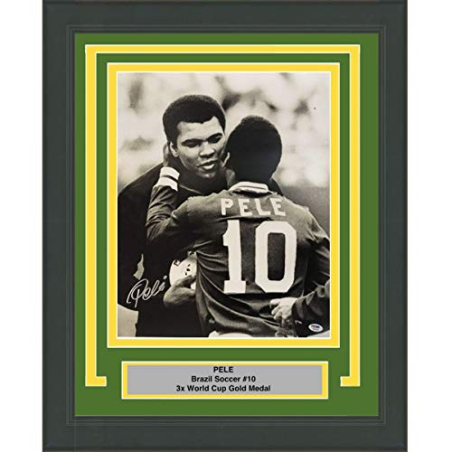 (Framed Autographed/Signed Pele Brazil Soccer Futbol 16x20 Photo with Muhammad Ali PSA/DNA COA Auto)