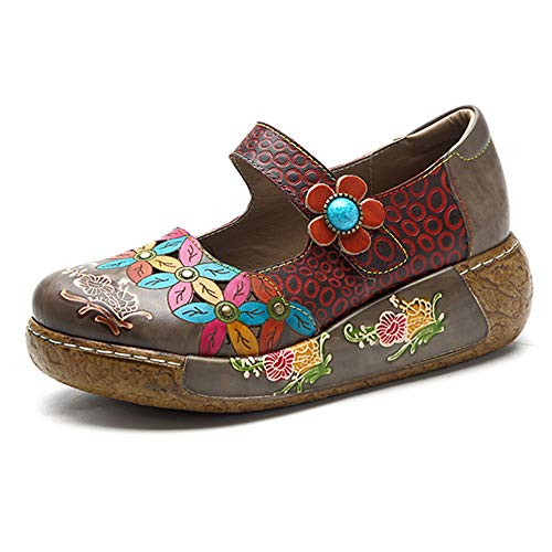 Slip on Dark Vintage Ballet Flat Women Colorful Women's Platform Grey Size Shoes Flower Casual Sandals Leather Loafers Wedge Dancing Summer Oxfords Socofy Sandals P7qgxwZv1q