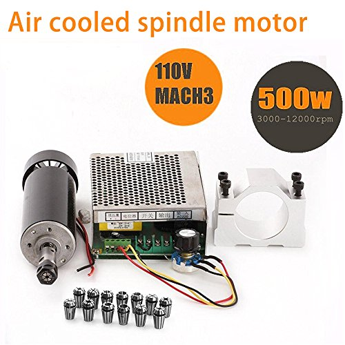 - CNC Spindle 500W Air Cooled 0.5kw Milling Motor and Spindle Speed Power Converter and 52mm Clamp and 13pcs ER11 Collet for DIY Engraving