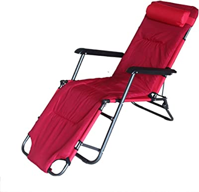 Lounge Chairs Feifei Folding Chair Office Lunch Break Chair Multifunctional Portable Chair Sun Loungers, Garden Chairs (Color : Red)